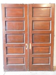 1890 S Wooden Double Pocket Doors Five Raised Panels Victorian Style Fir Ornate
