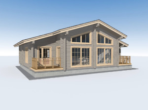 Laminated Log House Kit Engineered Wood Prefab Diy Building Cabin Home 1360 Sq 2