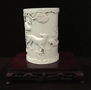 Antique Chinese White Porcelain Brush Pot Bitong With Qianlong Mark