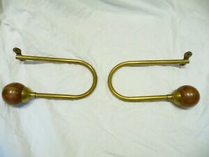 Vintage Pair Large Brass And Wooded Ball Curtain Tie Backs Large Curtain Bracket