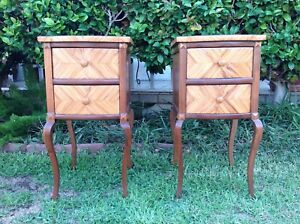Pair Of Vintage French Style 2 Drawer Nightstand 30 Tall