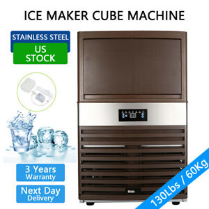 New 130lbs Built in Commercial Ice Maker Cube Machine Undercounter Freestand Us