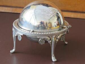 Antique English Silver Plated Rolling Dome Breakfast Or Buffet Server