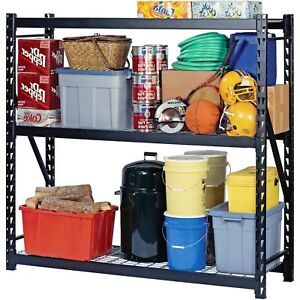 Storage Rack Steel Welded Heavy Duty Shelving Organizer Black Industrial Home