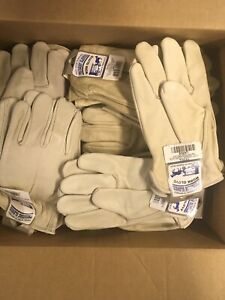 Men Large Leather Work Gloves Box Of 100 All New With Tags