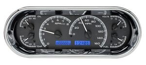 Dakota Digital Universal Vhx Oval Black Alloy Blue Light Analog Gauge Dash Kit