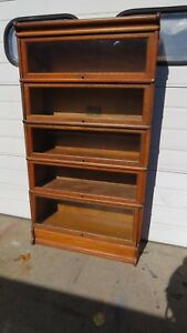 Antique Globe Wernicke Oak Stacking Bookcase 5 Sections Plus Top And Base