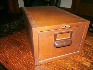 Vintage Globe Wernicke Oak File Card Cabinet Single Large Cards