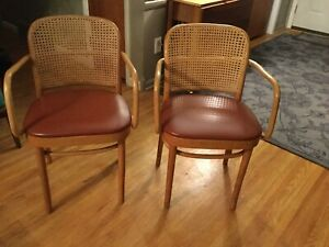 Vintage Pair Of Bentwood Cane Chairs Romania