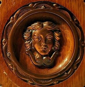 Mascaron Antique Art Deco Element Decorative Wood Copper Head Panel 5 13 16x5 13