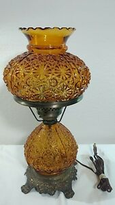 Vintage Amber Floral Carved Double Globes Glass Table Electric Lamp