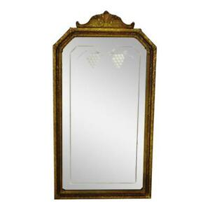 Vintage Decorative Nurre Mirror Etched Glass Wall Mirror