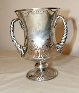 Antique Ornate Hand Chased Sterling Silver Overlay Glass Trophy Urn Style Vase