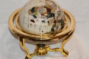 New Large Lapis Gemstone Globe Semi Precious Stones Brass Stand With Compass