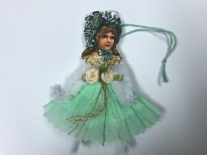 Paper Doll Vintage Green Easter Ornaments Chenille Feather Tree Item 4