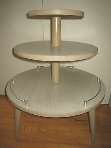 Vintage Mid Century 3 Tier Round Side Table