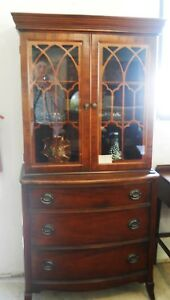 Antique Mahogany 2 Pc Breakfront Curio Chest Of Drawers