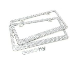Premium 9 Row Crystal Metal License Plate Frame Free Caps For Nissan Hyundai X 2