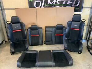08 13 Dodge Challenger Srt8 Black Leather Suede Seats Complete Front Rear Heated
