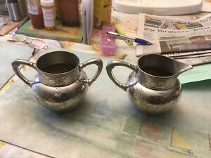 James W Tufts Silver Plate Cream And Sugar
