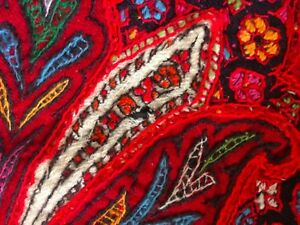 Antique Pieced Paisley Wool Shawl 82x82 Heavy Embroidered Textile Coverlet
