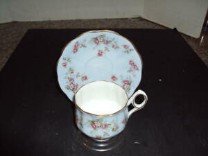 Rosina Bone China Teacup And Saucer Set Blue Adorned With Roses Gold Id 34501