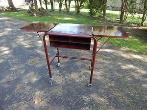 Vtg Mid Century Office Metal Wood Typewriter Desk Table Dropleaf Industrial 60 S