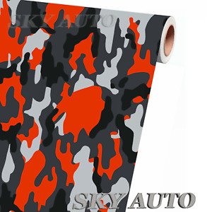 Red Orange Black White Gray Camo Vinyl Car Wrap Sheet Free Tools 2 Feet Up