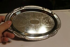 Ornately Etched Silver Plate Platter Tray Hong Kong
