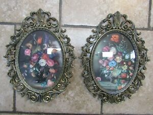 Vintage Pair Of Large Ornate Metal Frame Pictures Oval Convex Bubble Glass Italy
