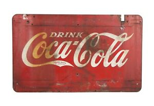 60 Inch By 36 Inch HUGE vintage Coca Cola Enamel Sign 1930 Coke Double Sided