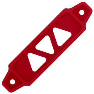 Small Aluminum Car Battery Tie Down Bracket In Matte Red