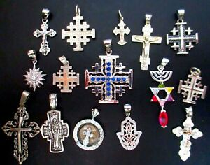 Sterling Silver Lot Of 15 Religions Pendants Not Scrap From Jerusalem 49 G
