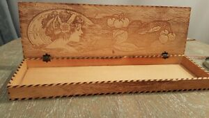 Vintage Folk Art Hand Carved Wood Hinged Keepsake Box Lady And Fruit