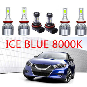 8000k Ice Blue Cob Led Headlight Hi low fog Light Kit For Nissan Maxima 16 18