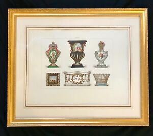 Antique French Sevres Chromolithograph Print Of Porcelain Gilded Frame Beauty