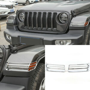 For Jeep Wrangler Jl 18 2019 Chrome Front Side Turn Signal Light Lamp Cover Trim