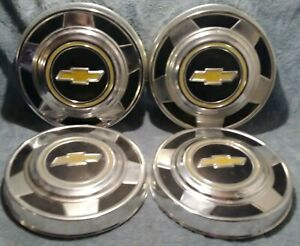 Vintage 73 87 Chevy Truck 10 3 4 Dog Dish Poverty Hub Caps Set 4 Aluminum Oem