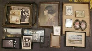 Lot Of 20 Antique And Vintage Art Deco Wood Picture Frames Wall Decor Metal