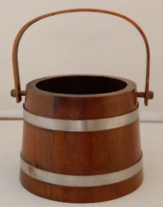 Vintage Wooden Firkin Sugar Bucket With Metal Bands And Swing Peg Wooden Handle