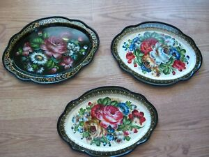 Vintage Roses And Floral Hand Painted Gorgeous Tole Trays Two Signed 3 Trays