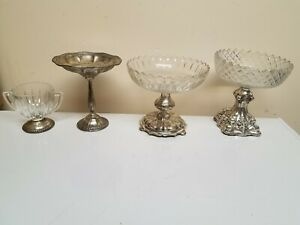 Lot Of 4 Sterling Footed Candy Dish Vintage Antique