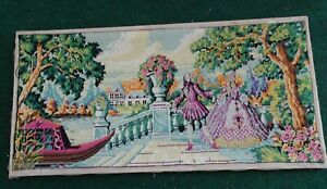 Antique Large French Style Victorian Needlepoint Wall Decor