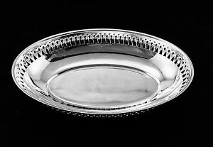 Ercuis French Silver Plated Hand Made Ajouree Oval Bread Basket