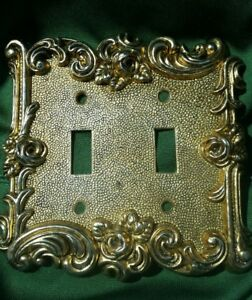 1967 Vintage At Hc American Tack Hardware Co Ornate Duplex Switch Plate Gold