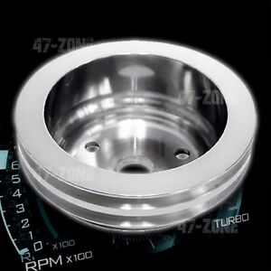 Aluminum Chevy Sb Crank Pulley 2 Groove Long Lwp Polished