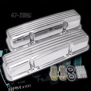 Aluminum 58 86 Chevy Sb 283 400 Tall Valve Covers Finned Polished w o Holes