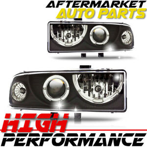 For 2000 Chevrolet Blazer Halo Projector Headlight Black Clear