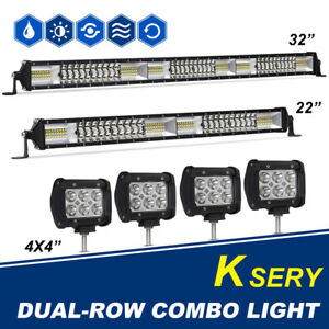 32 30inch Led Light Bar Combo 22in 4x 4 Pods Work For Offroad 4wd Suv For Jeep