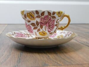 Rosina Fine Bone China Vintage Floral Teacup And Saucer Made In England